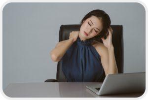 Portrait of asian business woman shoulder pain and backache offi